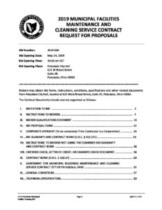 2019 Pataskala Cleaning RFP Bid Document - City Of Pataskala